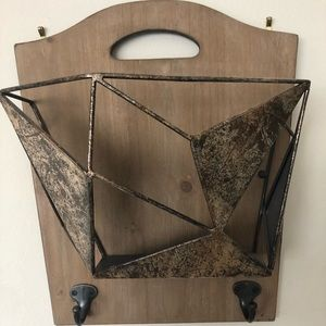 wall mounted basket with hooks
